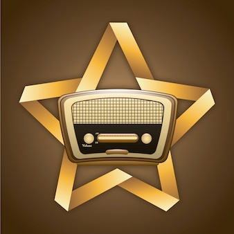 Radio rétro sur l'illustration vectorielle fond grunge