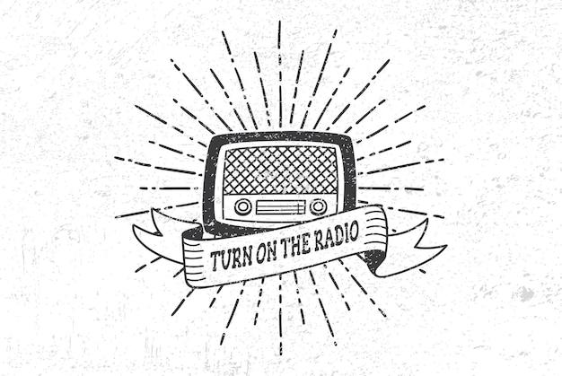 Radio vintage avec soleil éclaté sur grunge