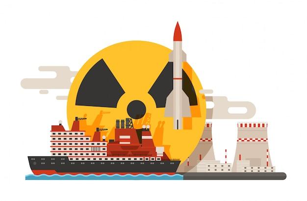 Radioactifs, construction de centrales nucléaires, explosion de bombe, icônes atomiques.