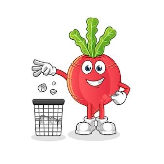 Radis jeter les ordures dans la poubelle mascotte