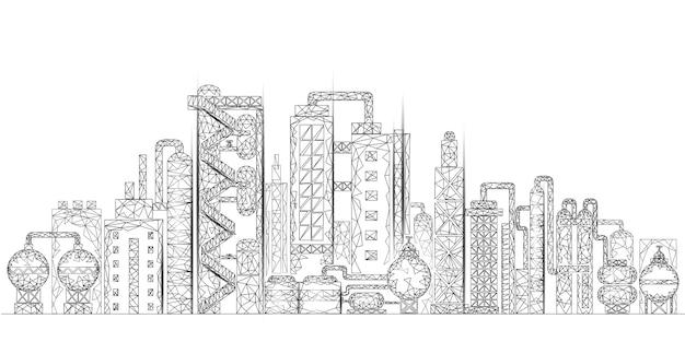 Raffinerie de pétrole complexe concept d'entreprise low poly. usine de production pétrochimique polygonale de l'économie financière. industrie pétrolière en aval. solution écologique blanche