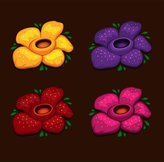 Rafflesia arnoldii cadavre fleur plus grande fleur sur terre symbole ensemble illustration vecteur