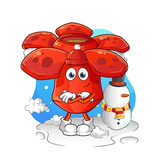 Rafflesia en mascotte de dessin animé d'hiver froid. mascotte de dessin animé