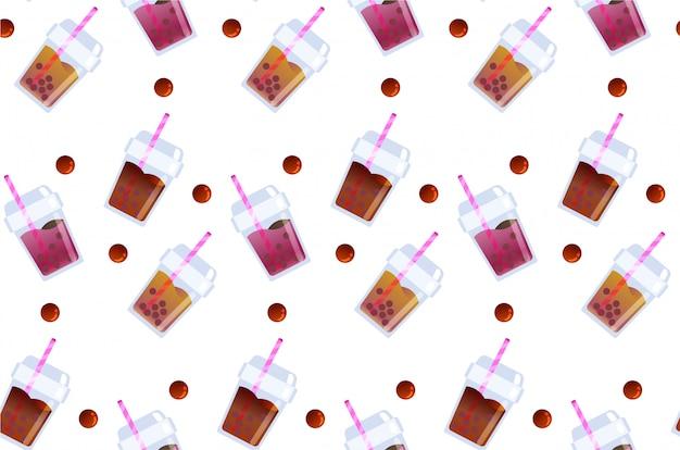 Rafraîchir modèle sans couture de boisson thé bubble