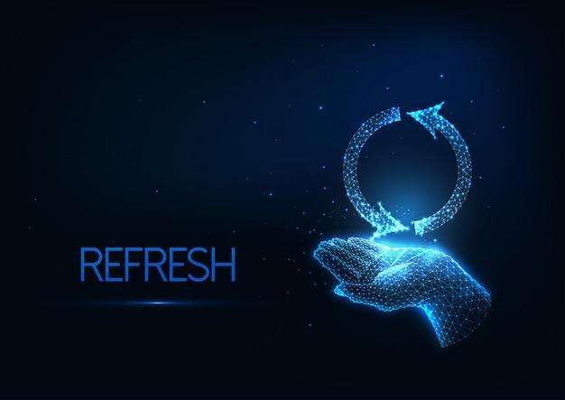 Rafraîchissement futuriste, rechargement, recyclage avec lueur faible polygonale main humaine tenant le symbole de rechargement