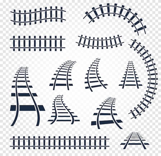 Rails courbes et droites isolés sur blanc