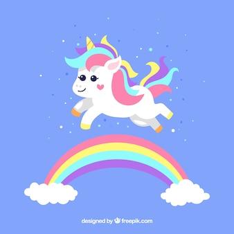 Rainbow background avec jolie licorne