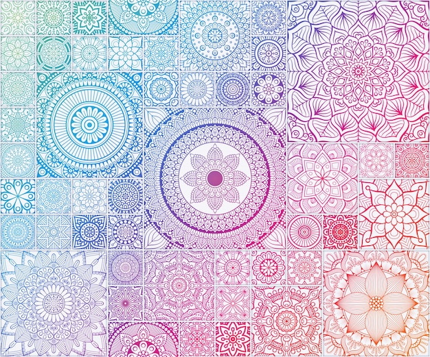 Rainbow seamless pattern seamless floral avec mandala