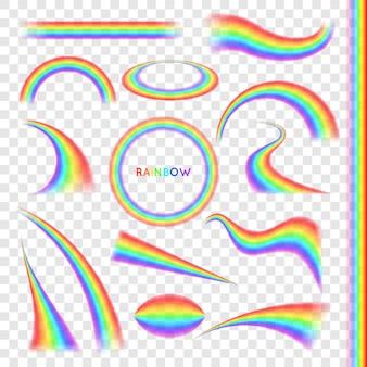 Rainbows dans un ensemble réaliste de différentes formes