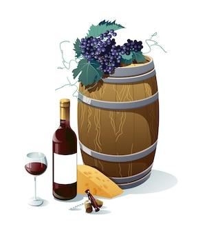 Raisin, bouteille de vin, verre à vin, tonneau, raisins, fromage. objets isolés sur fond blanc.