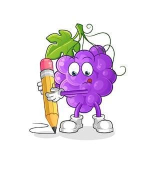 Le raisin écrit avec un crayon. mascotte de dessin animé