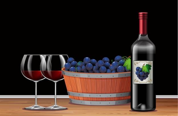 Raisin et vin rouge sur la table
