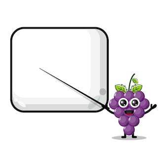 Les raisins deviennent la mascotte du personnage mignon de l'enseignant