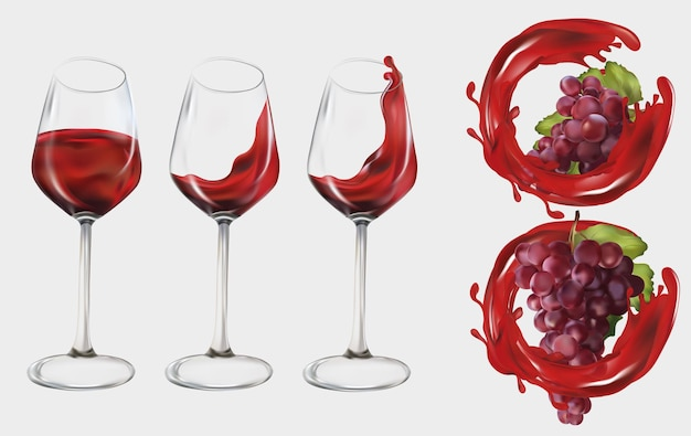 Raisins rouges réalistes. verre à vin transparent rempli de vin rouge. raisins de cuve, raisins de table avec du vin splash. illustration