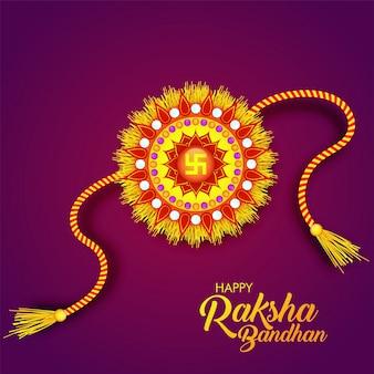 Rakhi rouge et jaune pour happy raksha bandhan.