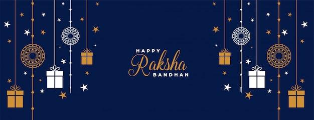 Raksha bandhan bleu rakhi et bannière de cadeaux