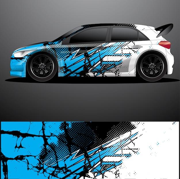Rallye voiture décalque graphique wrap vecteur, abstrait