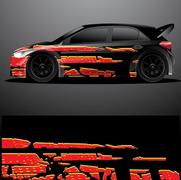 Rallye voiture sticker graphique wrap vecteur abstrait