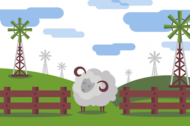 Ram animal moelleux broute dans le pré, illustration de la collection de la ferme. animal avec des cornes sur une nature vallonnée, générateur de vent de dessin animé