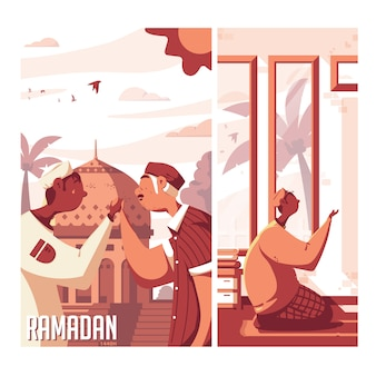 Ramadan 2d illustration à plat