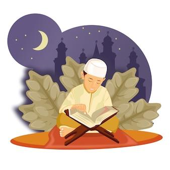 Ramadan, avec caractère, petit enfant lire l'illustration du coran