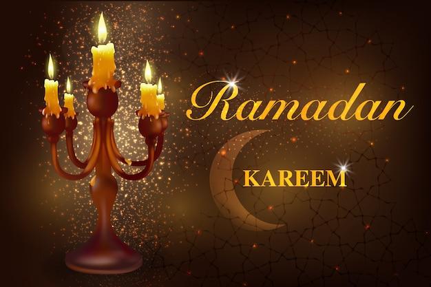 Ramadan avec un croissant de lune avec des bougies