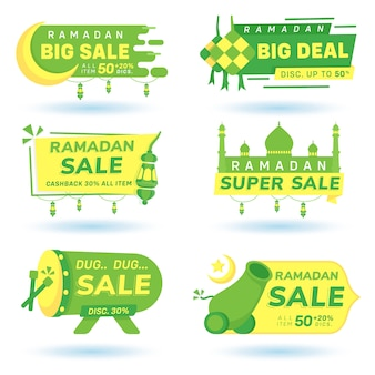 Ramadan discount banner icon bundle sale