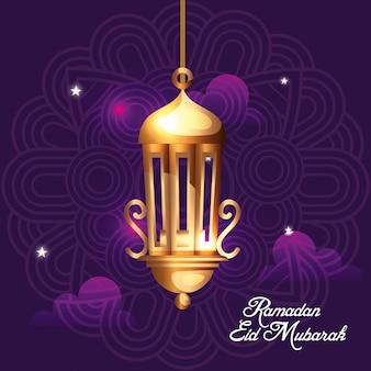 Ramadan eid mubarak avec décoration suspendue lanterne dorée
