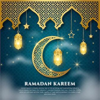 Ramadan kareem arabe bleu et or avec ornement islamique, lanterne, lune
