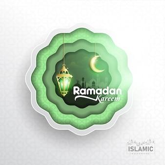 Ramadan kareem background dans l'art du papier ou du papier coupé style vecteur