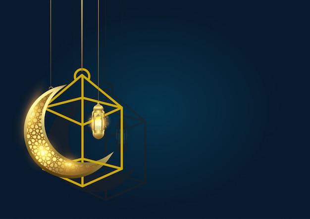 Ramadan kareem background avec lune et lanterne