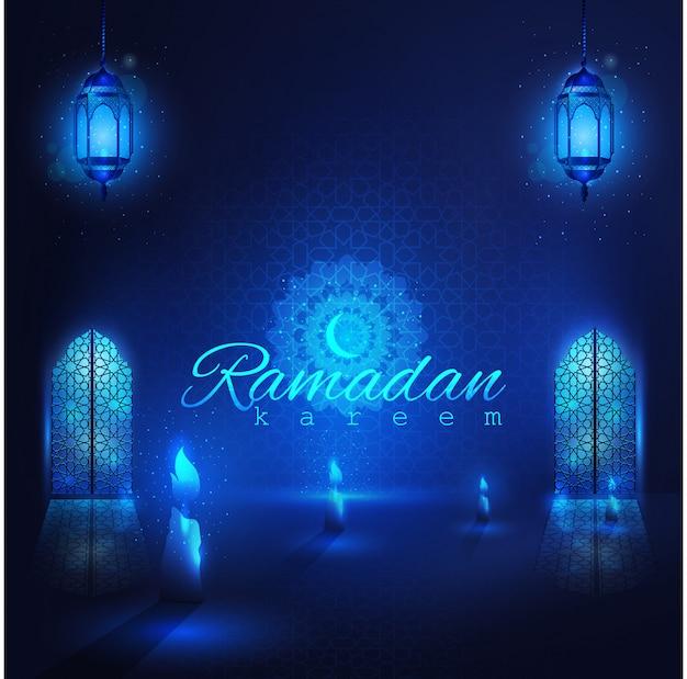 Ramadan kareem belles portes de mosquée rougeoyante