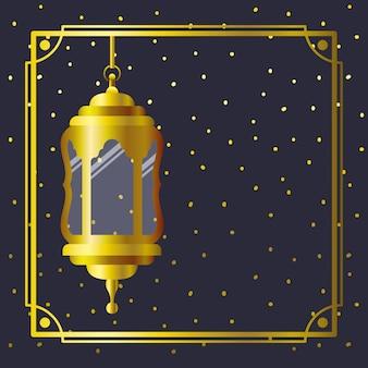 Ramadan kareem cadre doré avec lampe suspendue