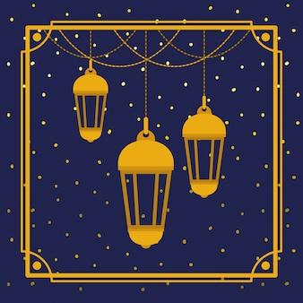 Ramadan kareem cadre doré avec lampes suspendues