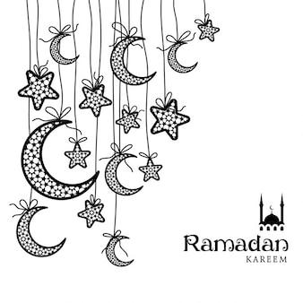 Ramadan kareem carte célébration de voeux décorée de lunes et d'étoiles sur fond blanc
