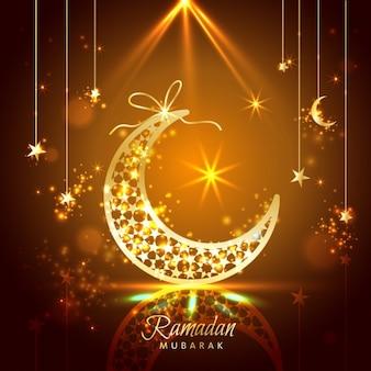 Ramadan kareem carte célébration de voeux décorée avec des lunes et des étoiles
