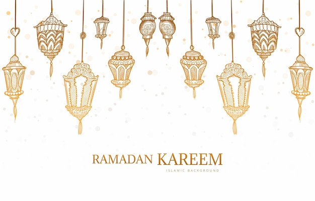Ramadan kareem carte de voeux main dessiner fond de croquis