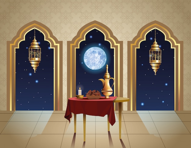 Ramadan kareem célébration avec théière en illustration de table