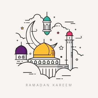 Ramadan karéem conception d'art en ligne