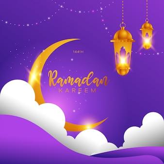 Ramadan kareem conception islamique croissant de lune, nuage et lanterne.