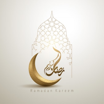 Ramadan kareem, croissant de lune et mosquée au design islamique