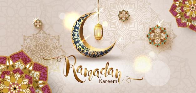 Ramadan kareem avec croissant de lune en or croissant de lune, modèle élément orné islamique pour, style 3d