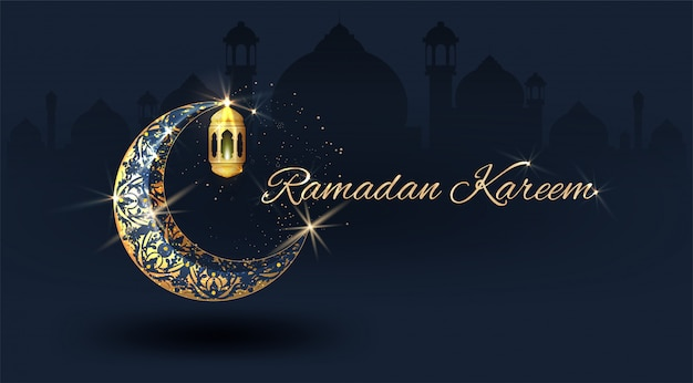 Ramadan kareem avec croissant orné d'or et dôme de mosquée de ligne islamique avec motif classique avec lanterne fond de célébration de luxe islamique