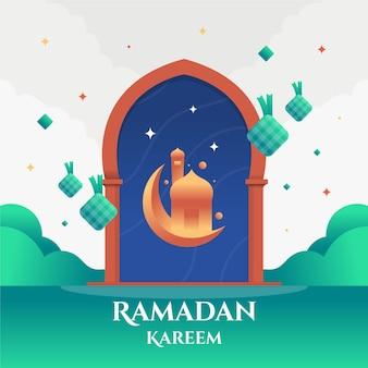 Ramadan kareem design plat eid mubarak
