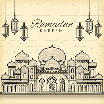 Ramadan kareem dessiné à la main