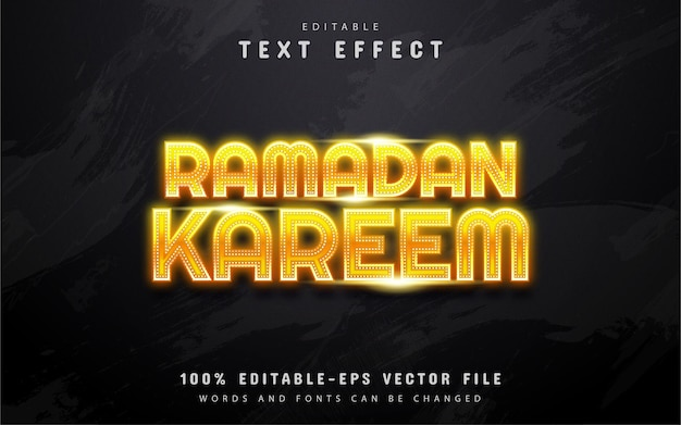 Ramadan kareem - effet de texte de style néon jaune