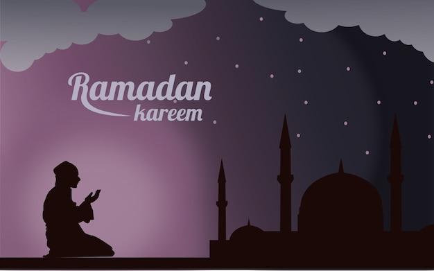 Ramadan kareem ou eid mubarak salutation fond islamique