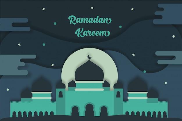 Ramadan kareem fond avec graphique plat mosquée