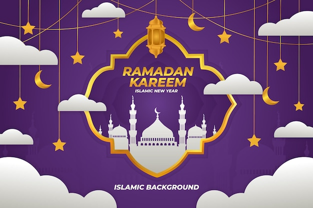 Ramadan kareem fond islamique, dégradé de couleur violet mosquée plate