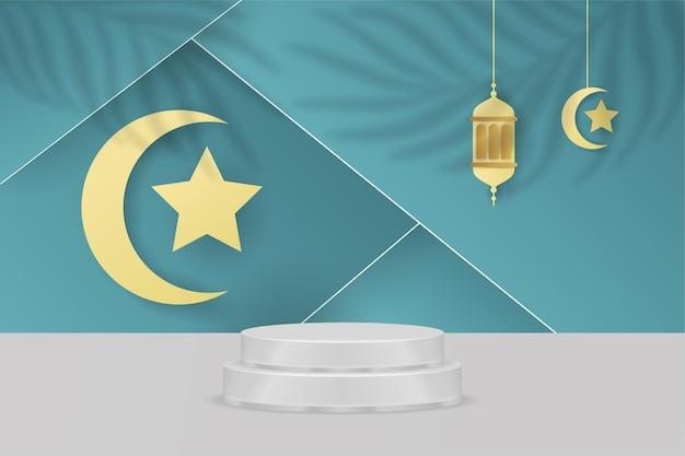 Ramadan kareem fond islamique podium bleu tosca